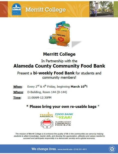 Announcement about Alameda County Community Food Bank at Merritt College