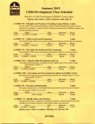 Summer 2015 Schedule