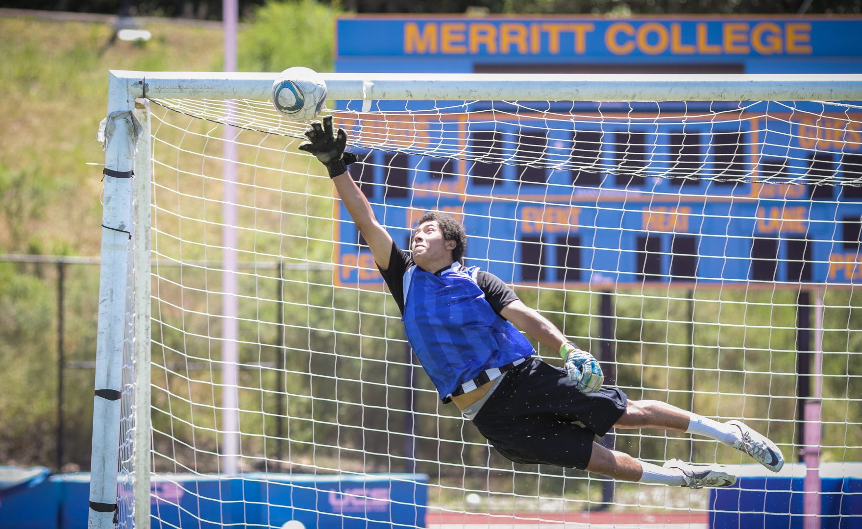 Goalie Roberto Llamos at Merritt College soccer practice