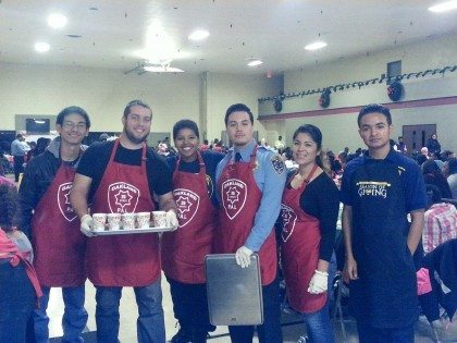 group of students serving