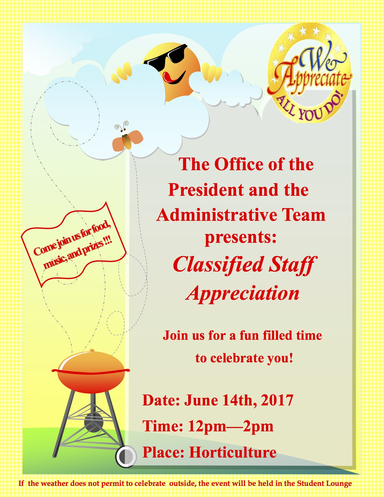 reminder  classified appreciation bbq on wed   june 14  12