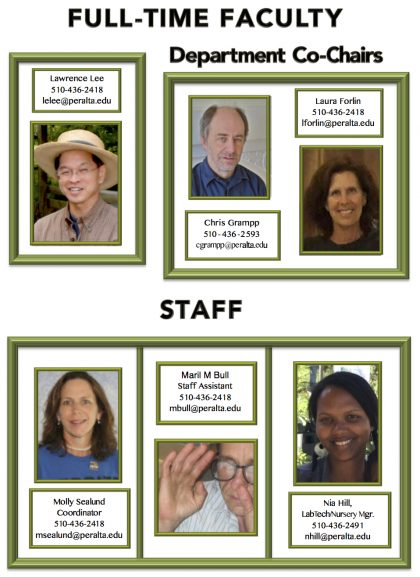 Pictures of faculty and staff with titles, contact info. This info available as text only at end of page